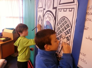 Working on a picture about St Duthus and King James 1V