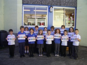 these children in P3 have successfully learned their '2 times table'.