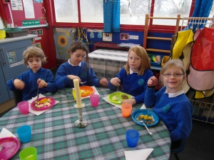 P1-3 were invited to the Gaelic Nursery to take part in 'A Burns' Supper'.