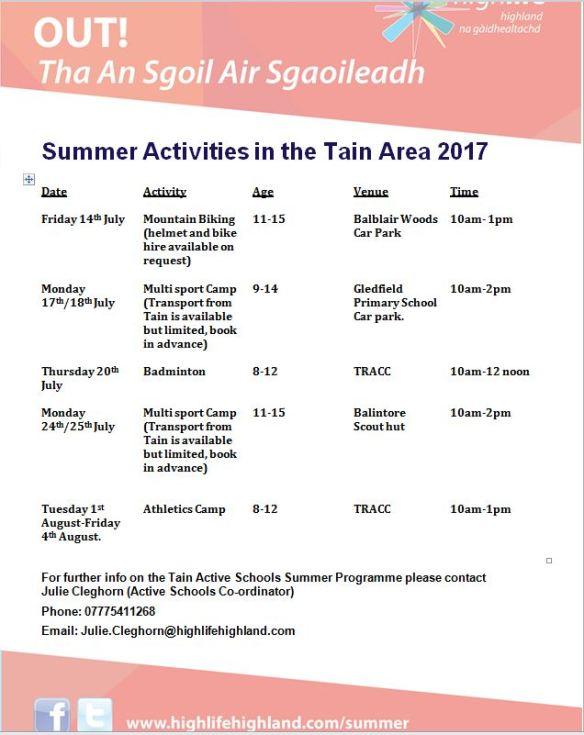 New summer programme